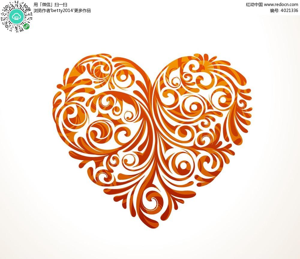 心形花纹图案eps免费下载