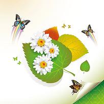 叶子花朵蝴蝶时尚矢量动物插画