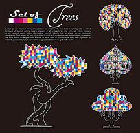 艺术插画 彩色马赛克叶子的树木