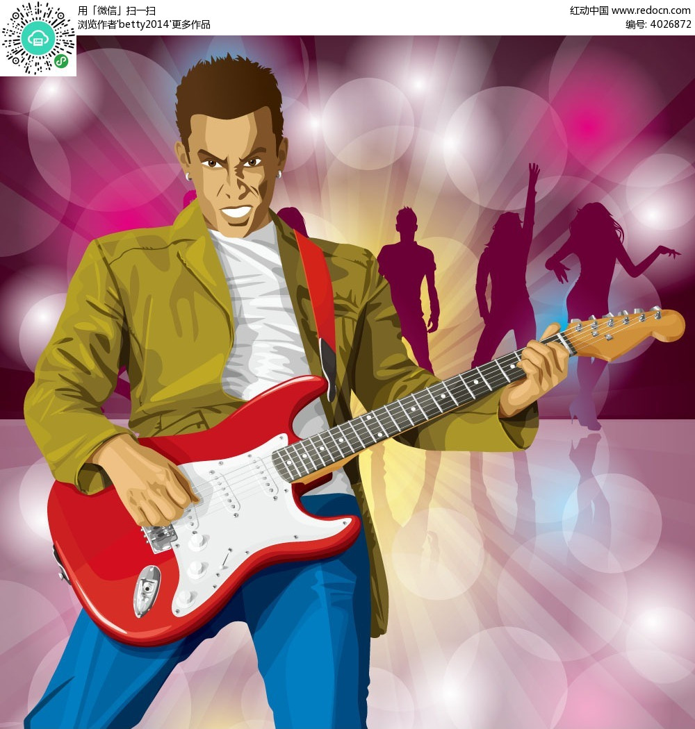 弹吉他的男人韩国人物插画