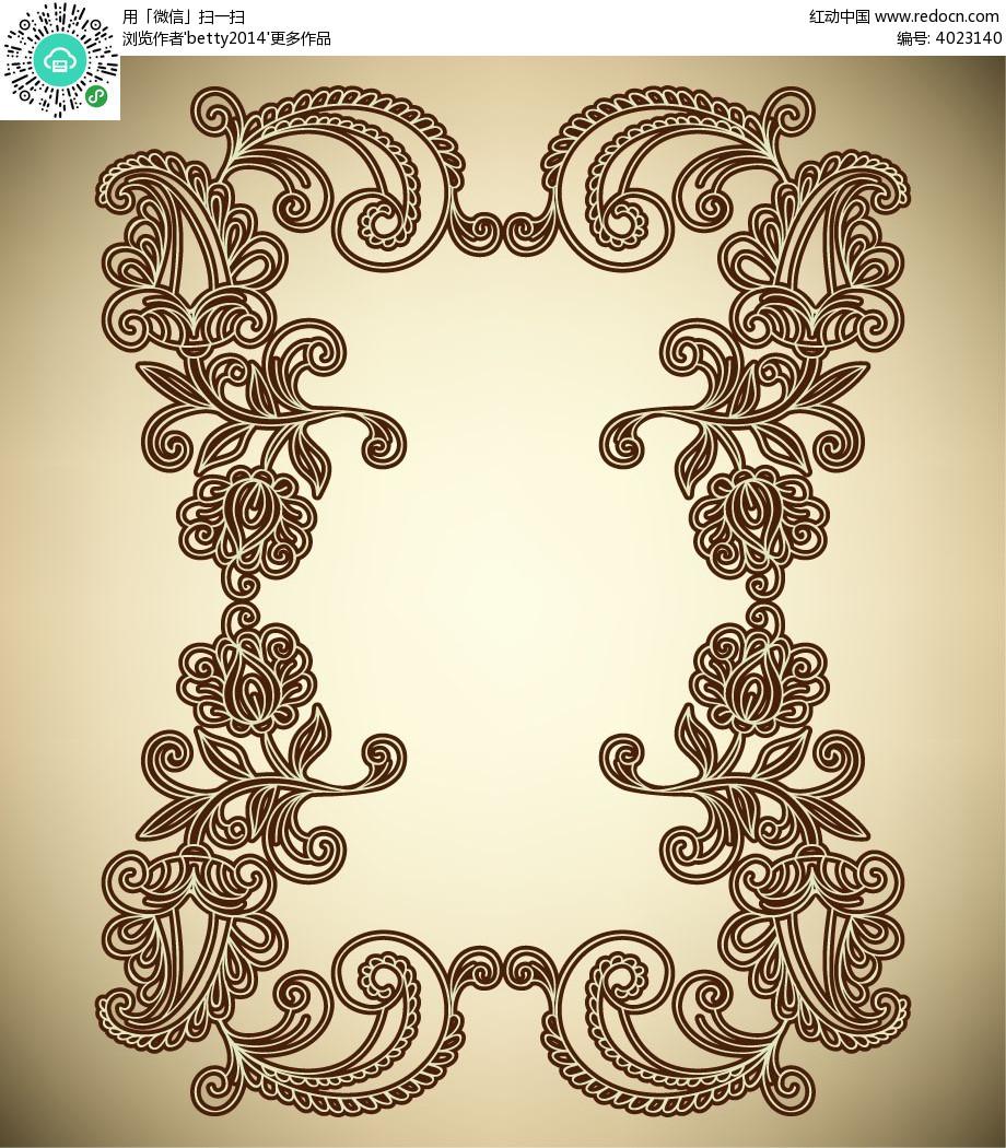 古典线条矩形花纹边框eps免费下载_花纹花边素材