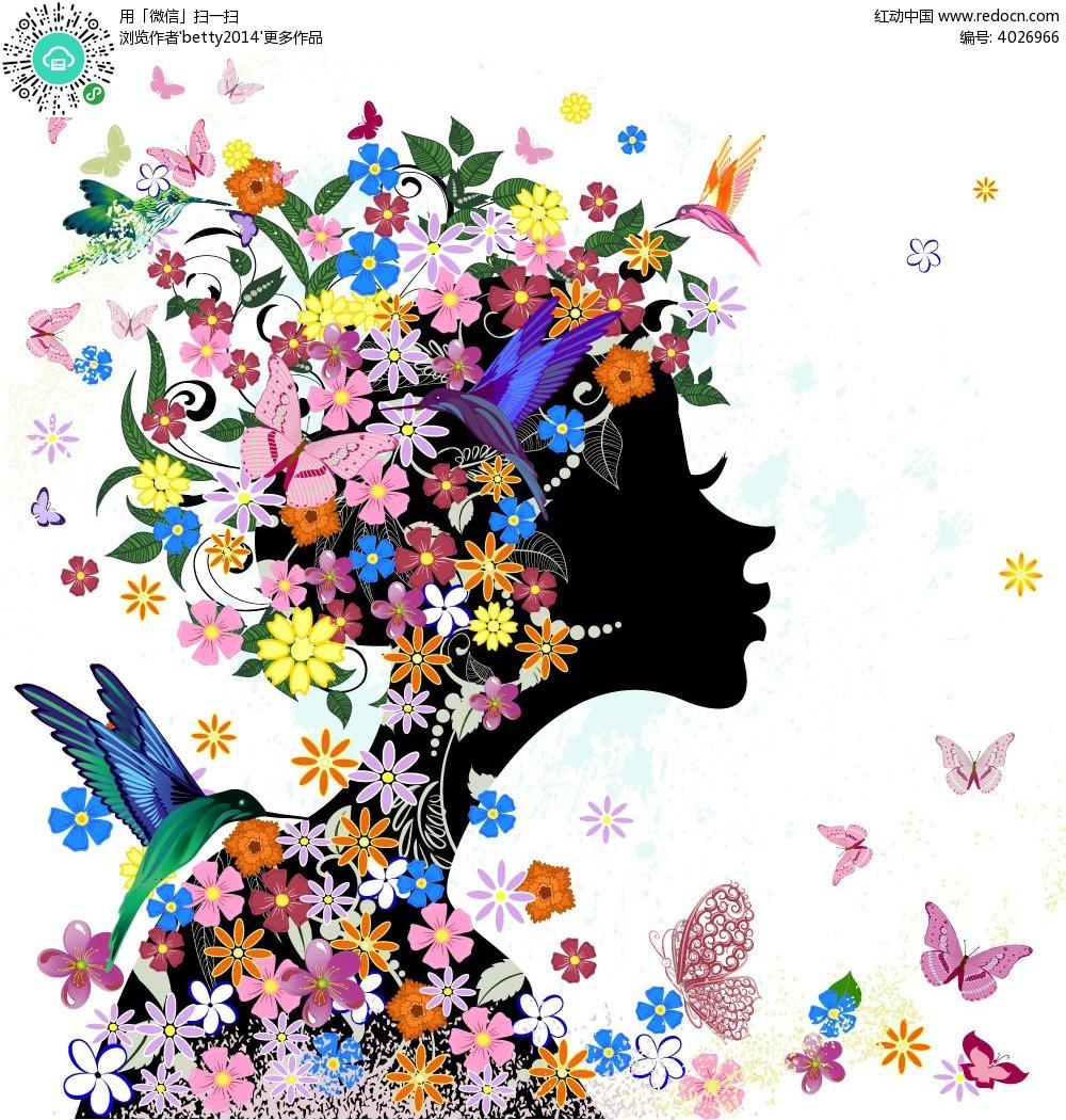花朵蝴蝶翠鸟嘟嘴女孩子韩国插画