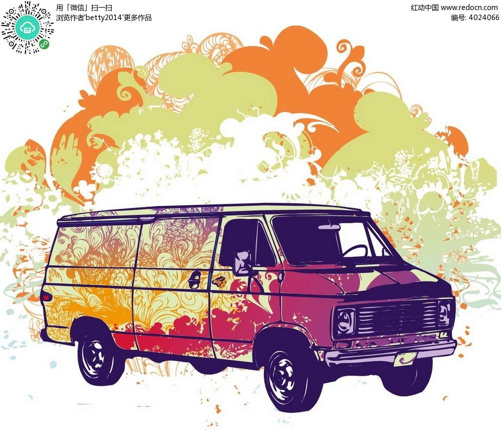花朵手绘皮卡车韩国插画