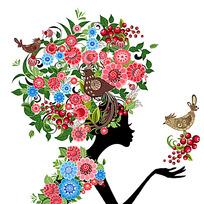 矢量花朵女孩子韩国美女-插画矢量图|美女女人体毛头饰露图片