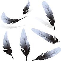 灰色的羽毛时尚漫画