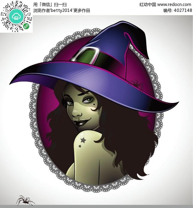 魔法帽子黑唇女孩人物插画
