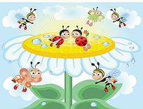 小昆虫和白色花朵时尚漫画