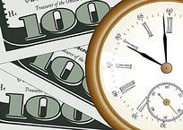 纸币和时钟卡通漫画