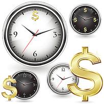 钟表和金钱符号卡通漫画