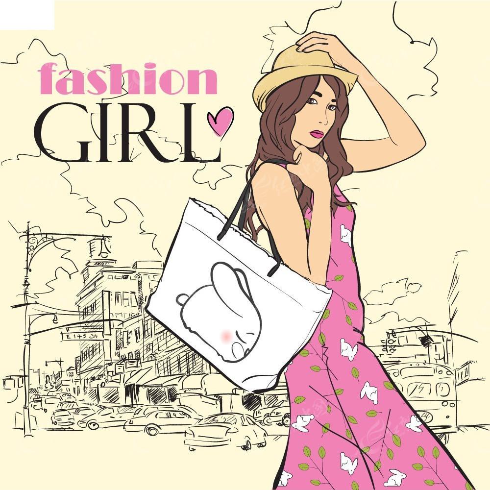 带着帽子的时尚女生人物插画