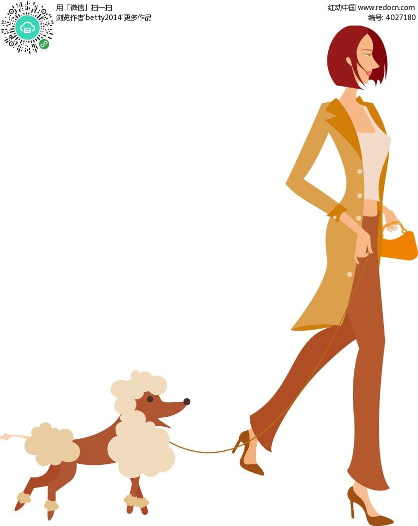 遛狗的短发女生人物插画