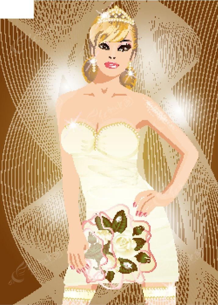 皇冠婚纱女孩卡通矢量人物插画