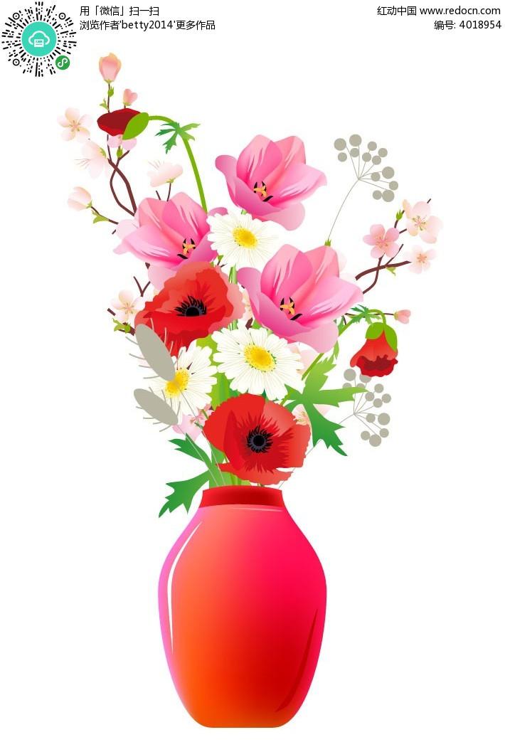 花瓶花简笔画 花瓶里的花简笔画