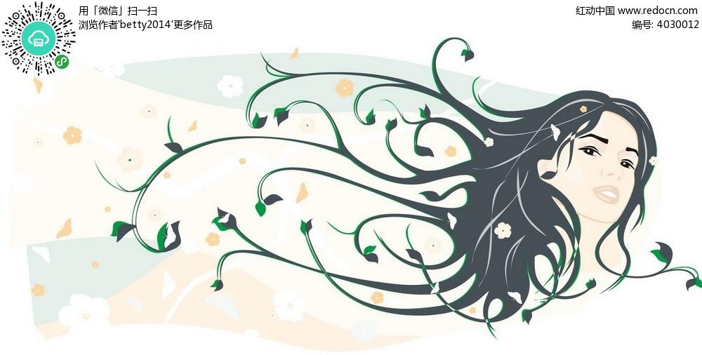 花纹头发的女孩韩国矢量插画图片