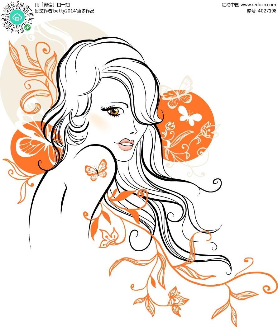 蝴蝶线条女人矢量人物插画