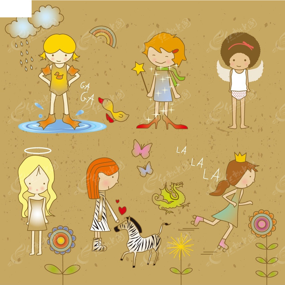 卡通手绘小女孩插画图片