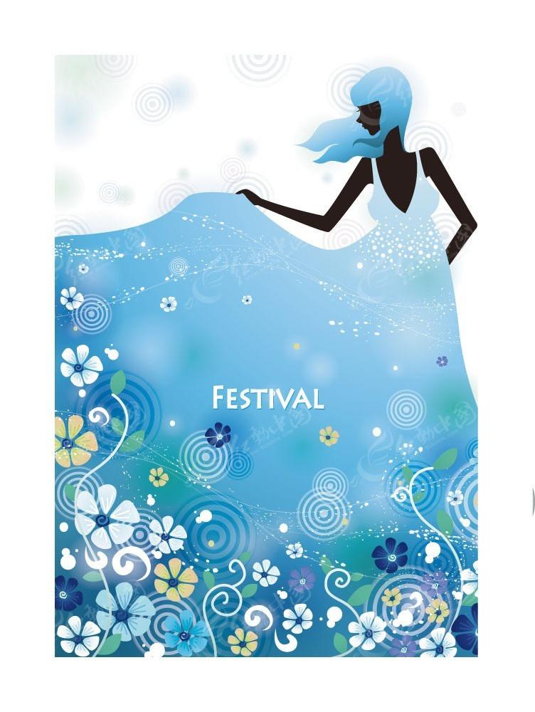 蓝色花朵衣服女孩剪影时尚矢量人物插画