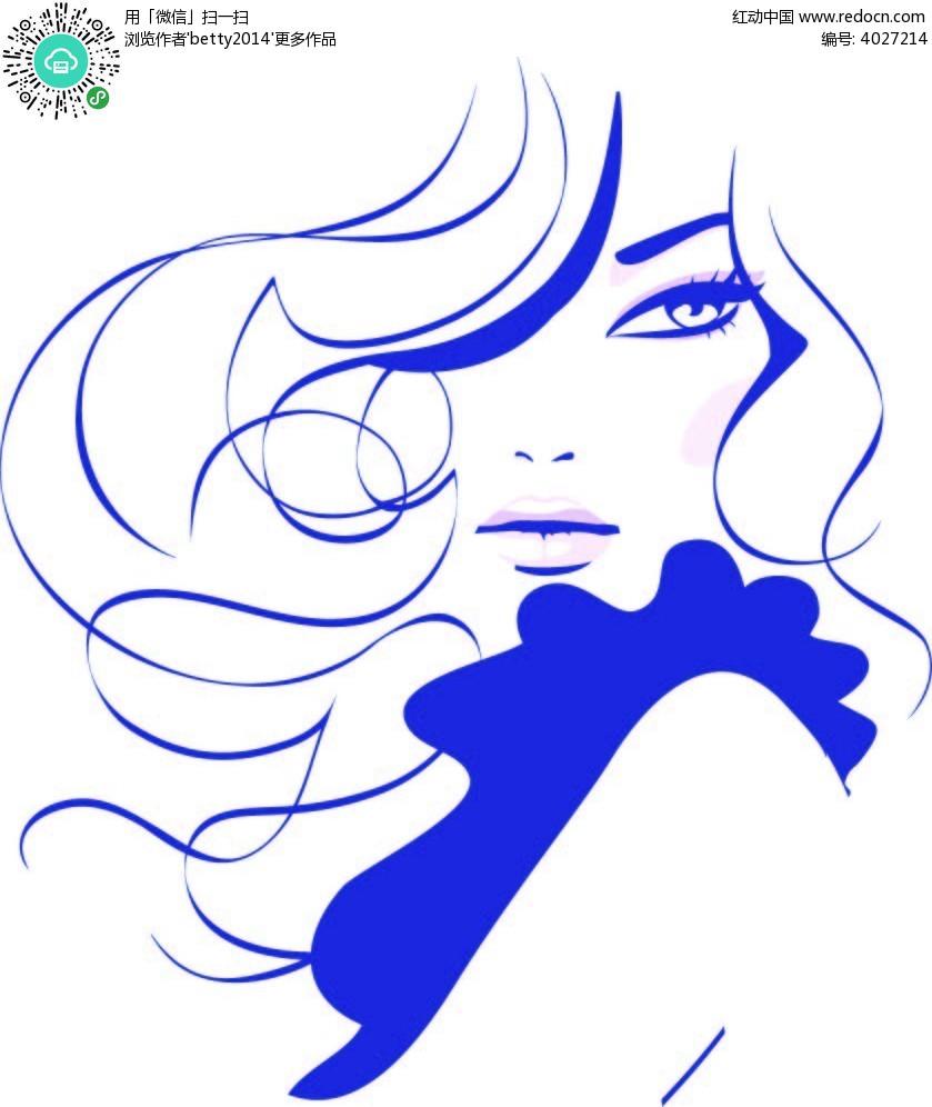 蓝色线条性感女人矢量人物插画