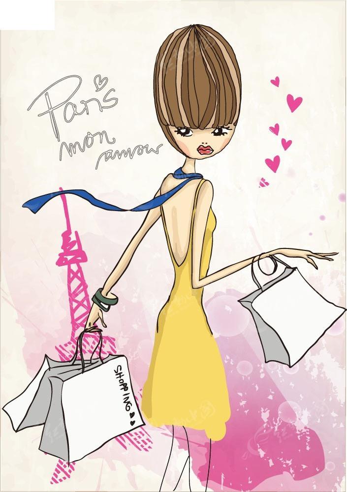 拿着购物袋的短发女生矢量人物插画