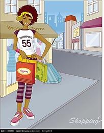 去购物的黑人女孩韩国人物插画