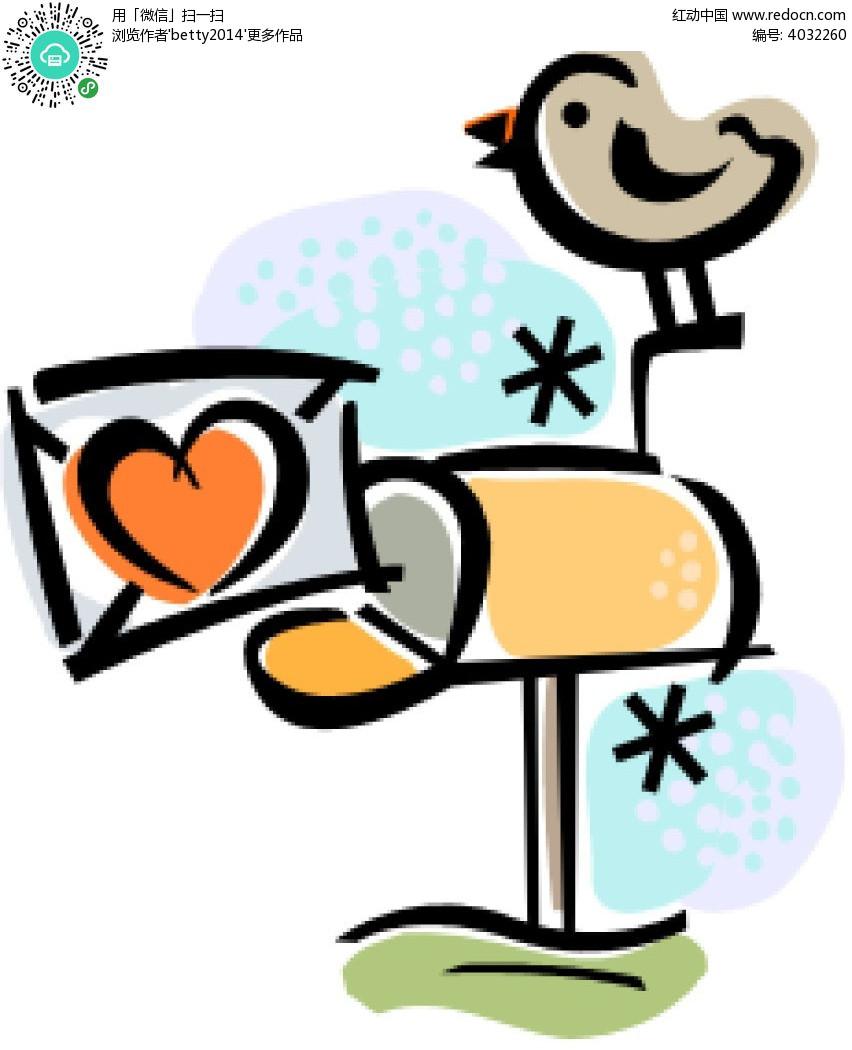 手绘涂鸦送信的小鸟时尚人物插画