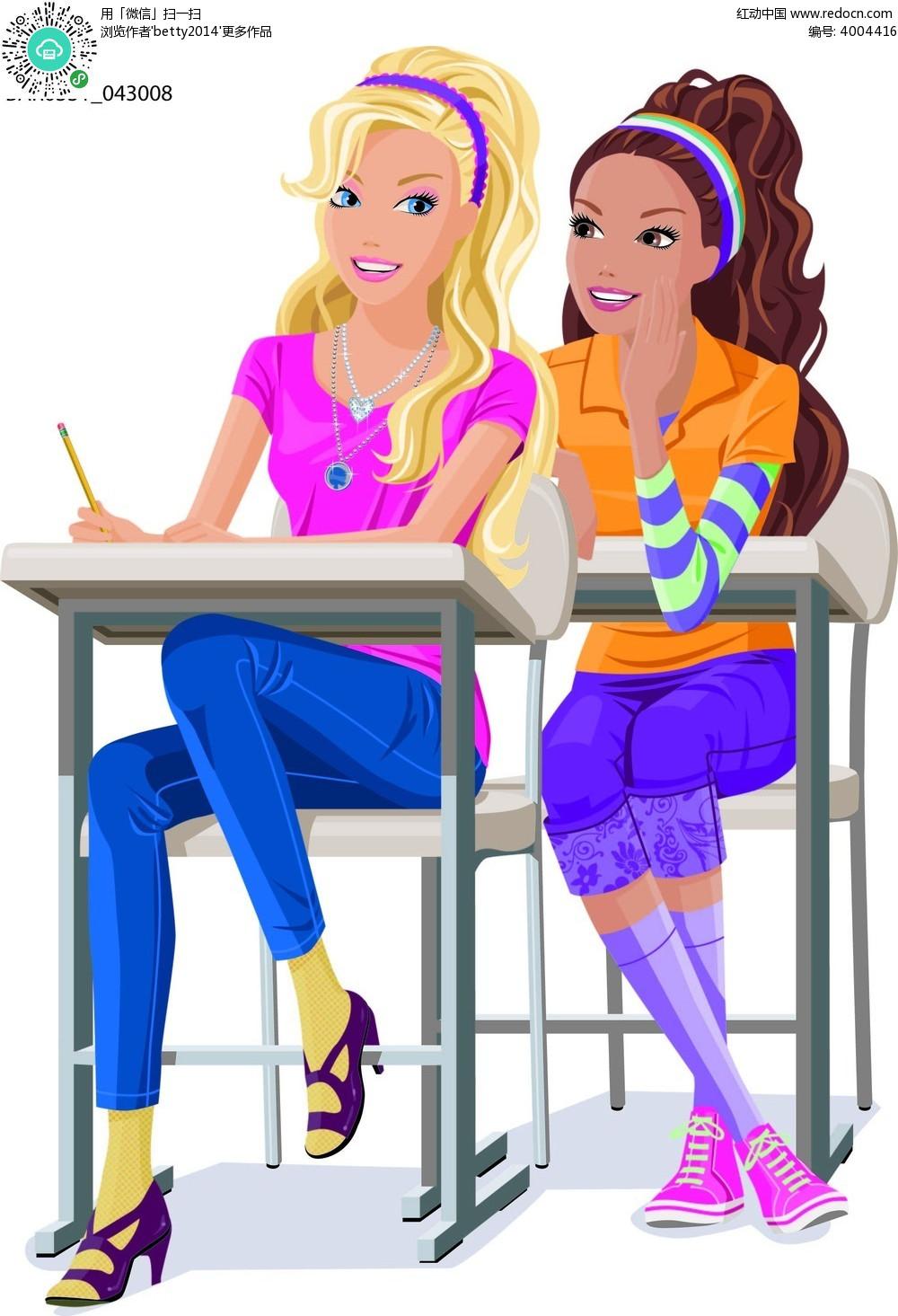 书桌和少女卡通手绘