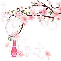 桃花瓶子插画