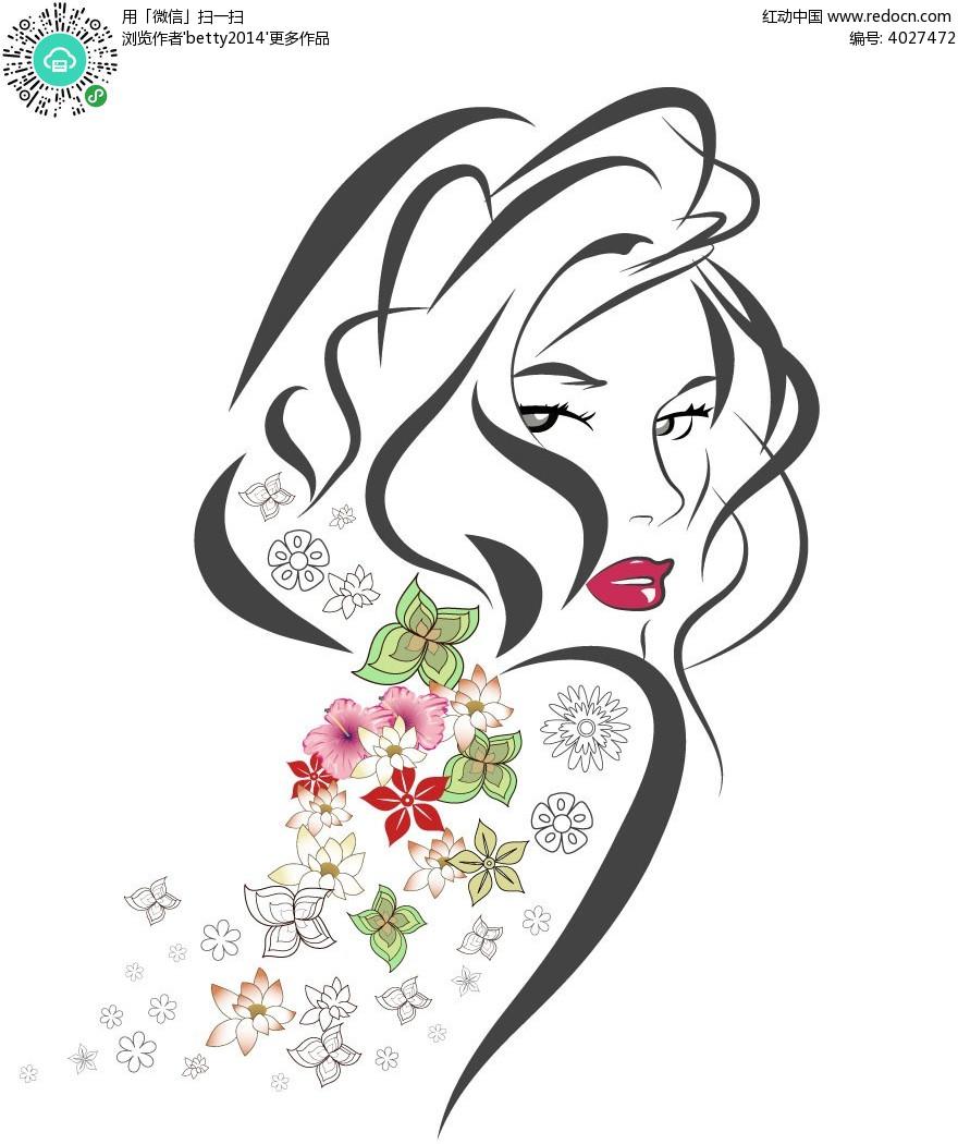 线条简笔红唇女韩国矢量人物插画