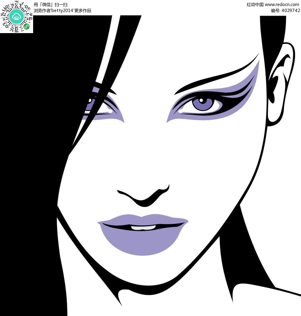 紫色嘴唇妩媚女人韩国插画