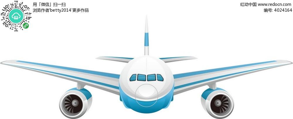 白底蓝色航空飞机矢量素材eps