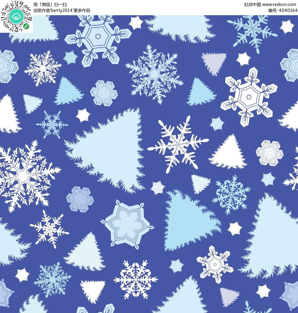 雪花圣诞树图形背景画
