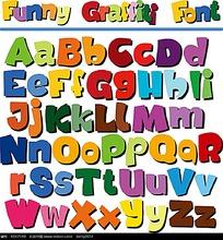 26个趣味涂鸦英文字母矢量素材