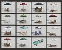 3D户外休闲遮阳伞桌椅素材集合max