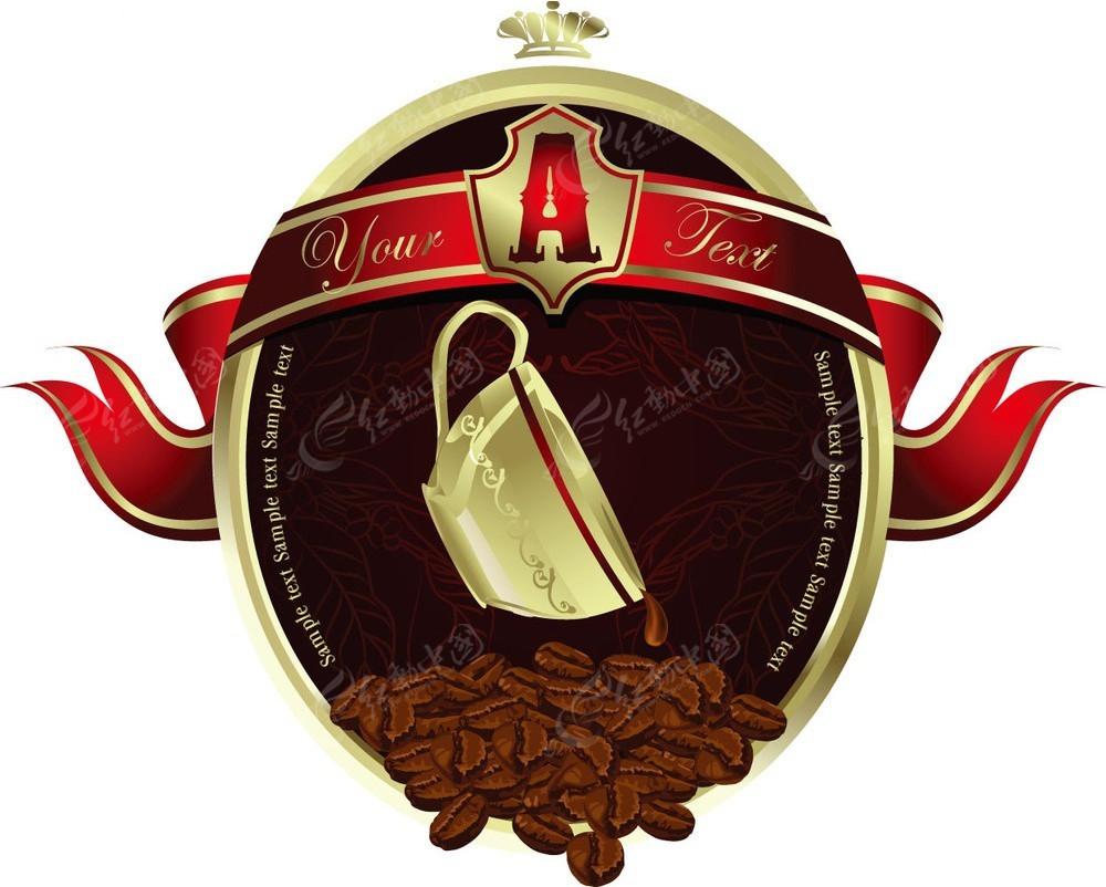 精美欧式边框咖啡图标图片