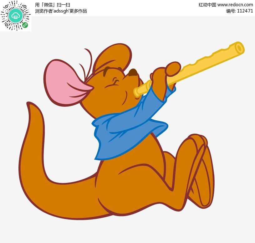 吹笛子的小袋鼠矢量图_卡通形象