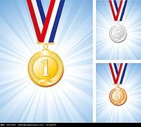 彩色金银铜奖牌矢量素材eps