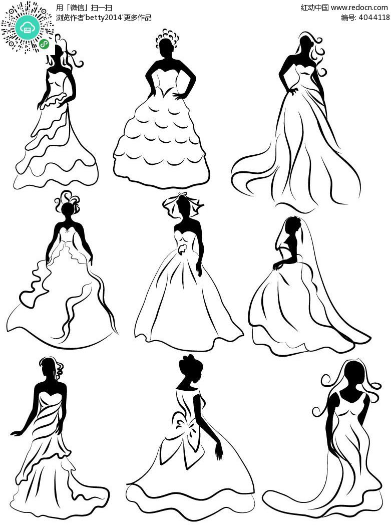 穿婚纱的新娘手绘线描图