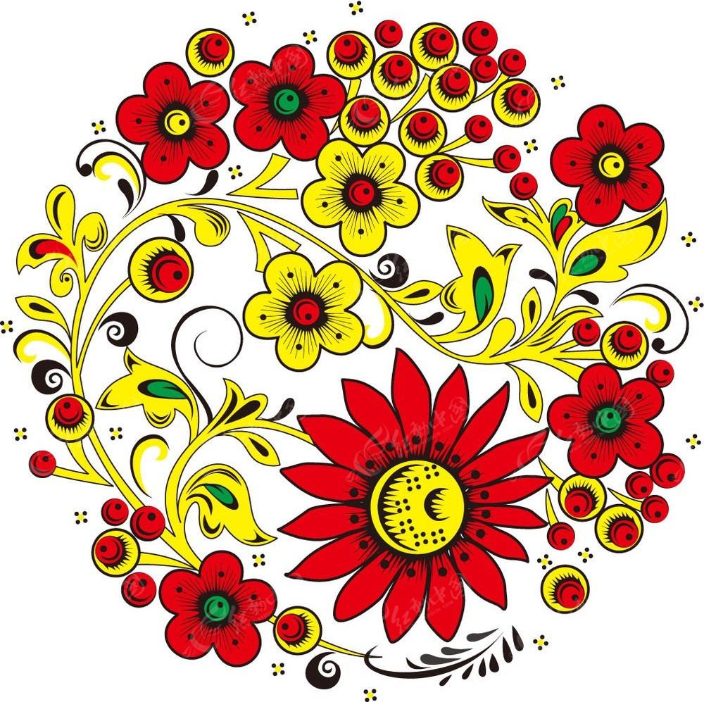 免费素材 矢量素材 花纹边框 花纹花边 彩色花朵和藤蔓图案  请您分享