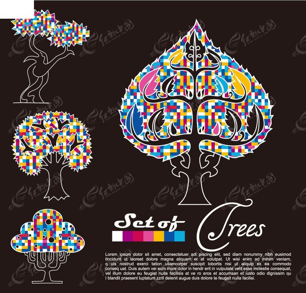 创意彩色小树图案
