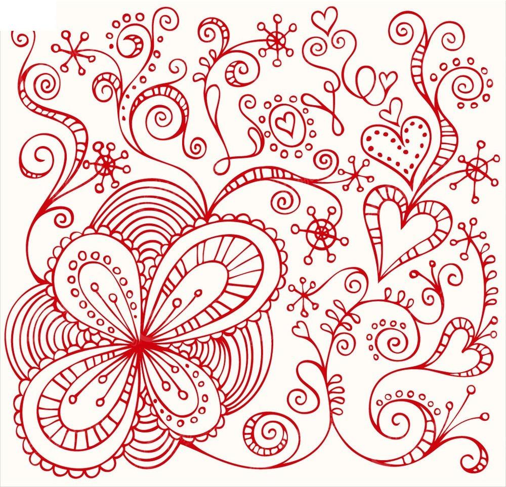 红色花朵和藤蔓心形图案