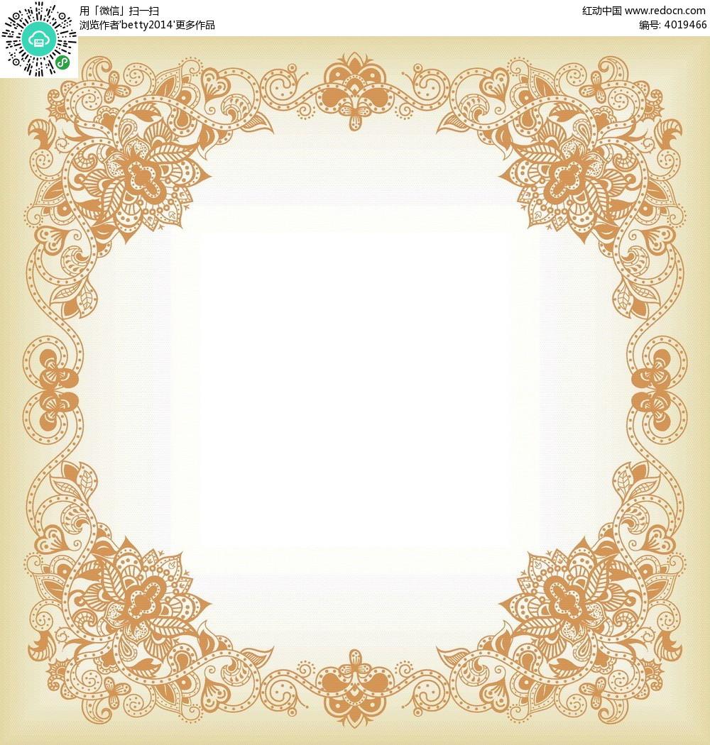 花朵藤蔓花纹边框EPS素材免费下载 编号4019466 红动网图片