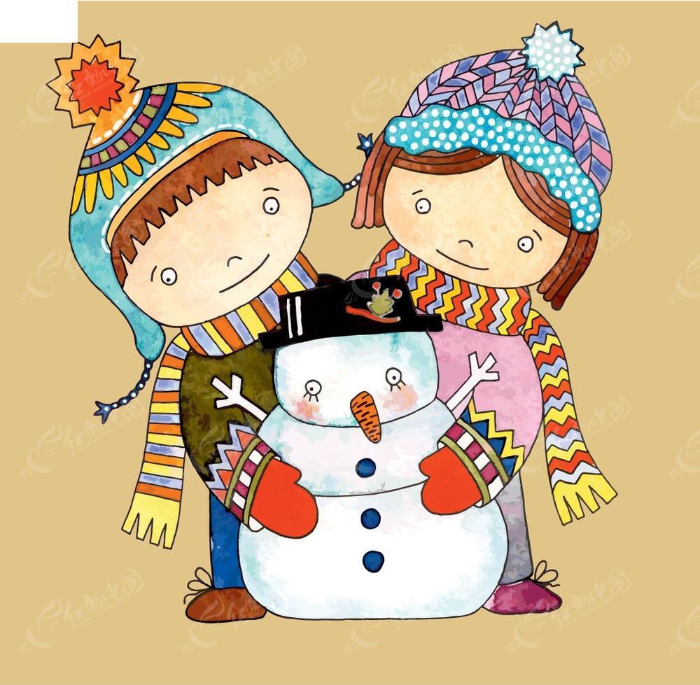手绘卡通小孩子和雪人圣诞节小素材