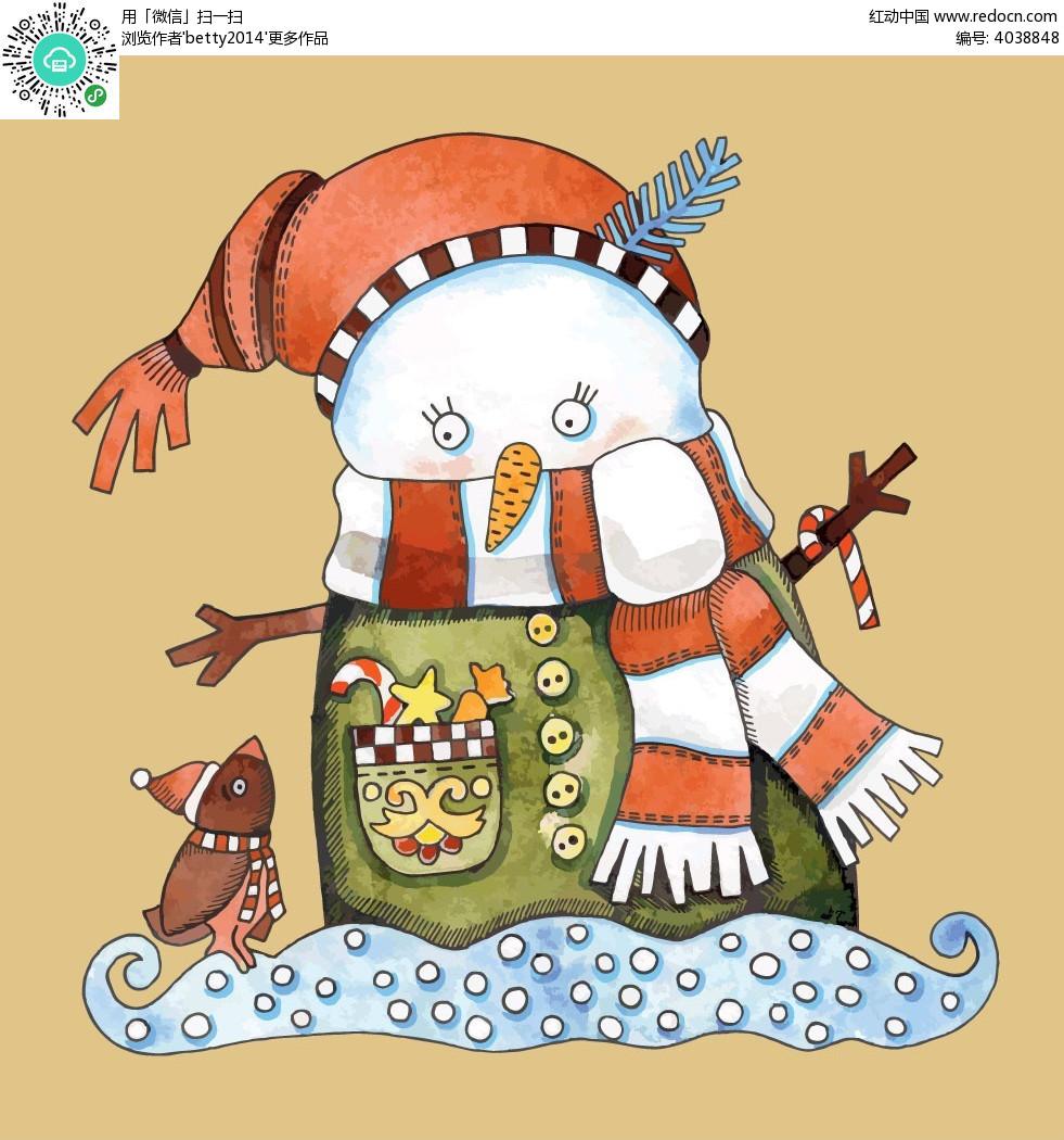 手绘小雪人圣诞节小素材图片图片