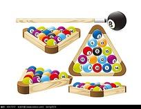 台球球子和母球矢量素材