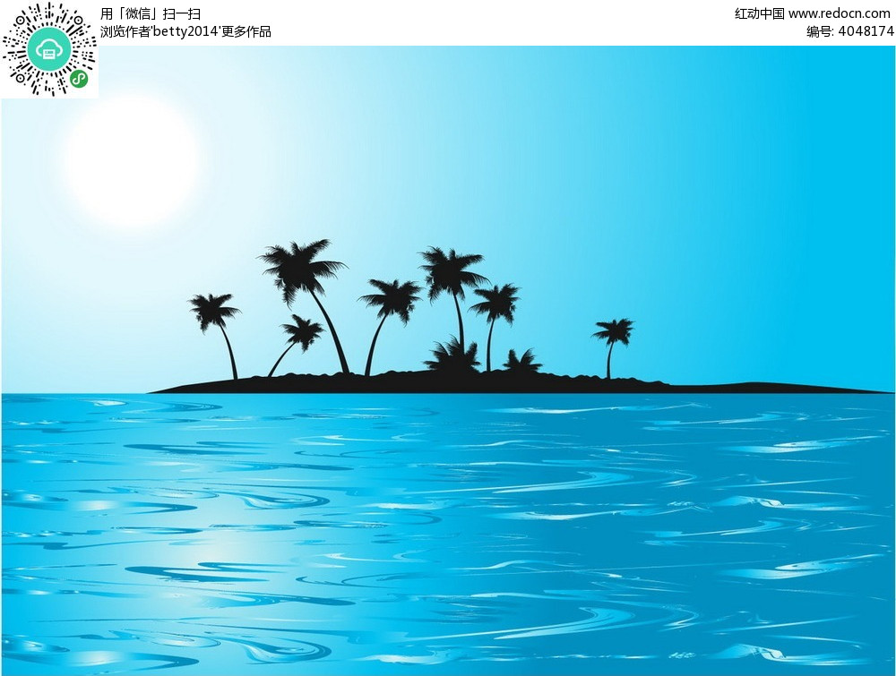 大海 风景图片 海岛剪影 矢量素材 椰树剪影 自然风光 自然风景