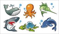 卡通海底动物矢量素材