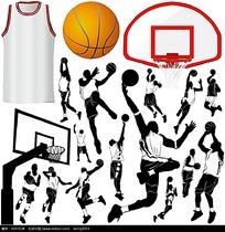 篮球剪影矢量素材