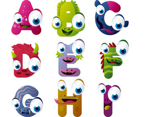 abcdefghi九个卡通动物表情英文字母eps图片
