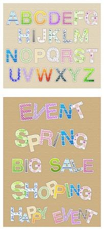 彩色花纹英文字母和英文单词矢量素材ai
