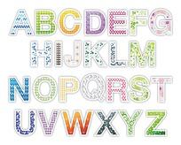 彩色花纹英文字母矢量素材ai